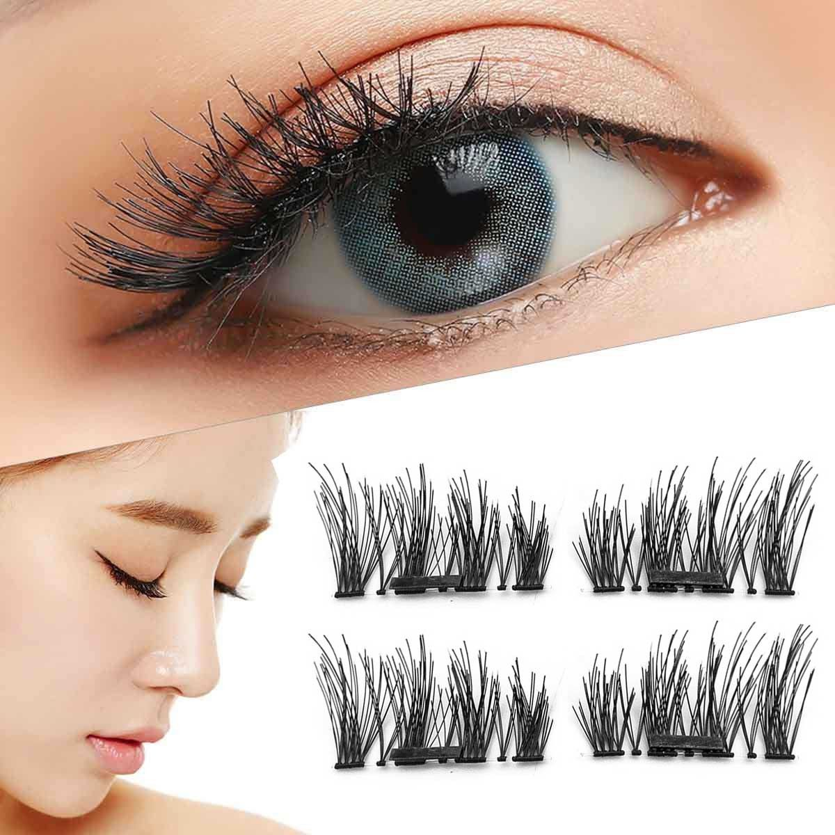 ac5b3db40c0 4Pcs Reusable Magnetic 3D False Eyelashes Long Natural Fake Eye Lashes US