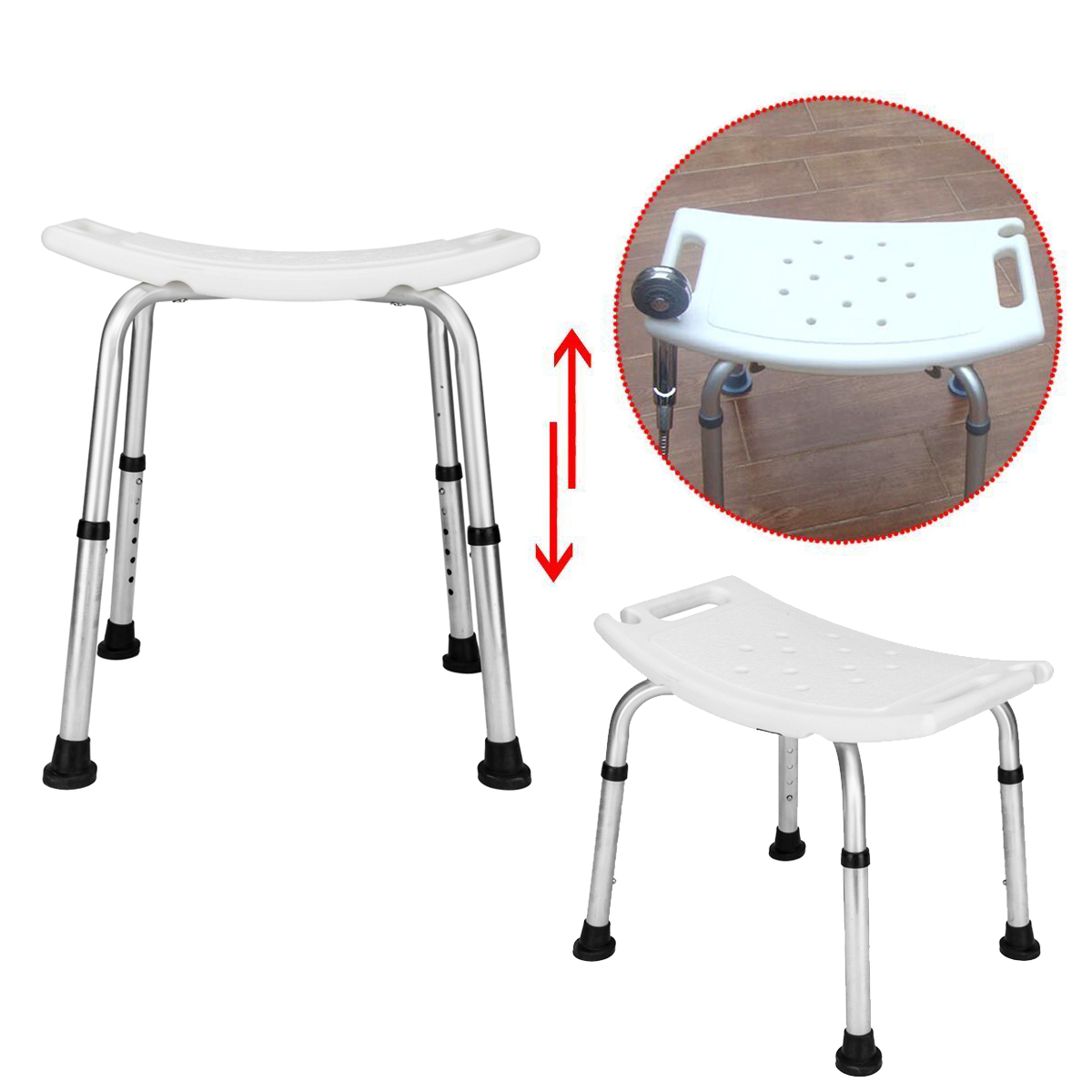 Details About Bath Shower Chair Adjustable Medical 6 Height Bench Bathtub Stool Seat New