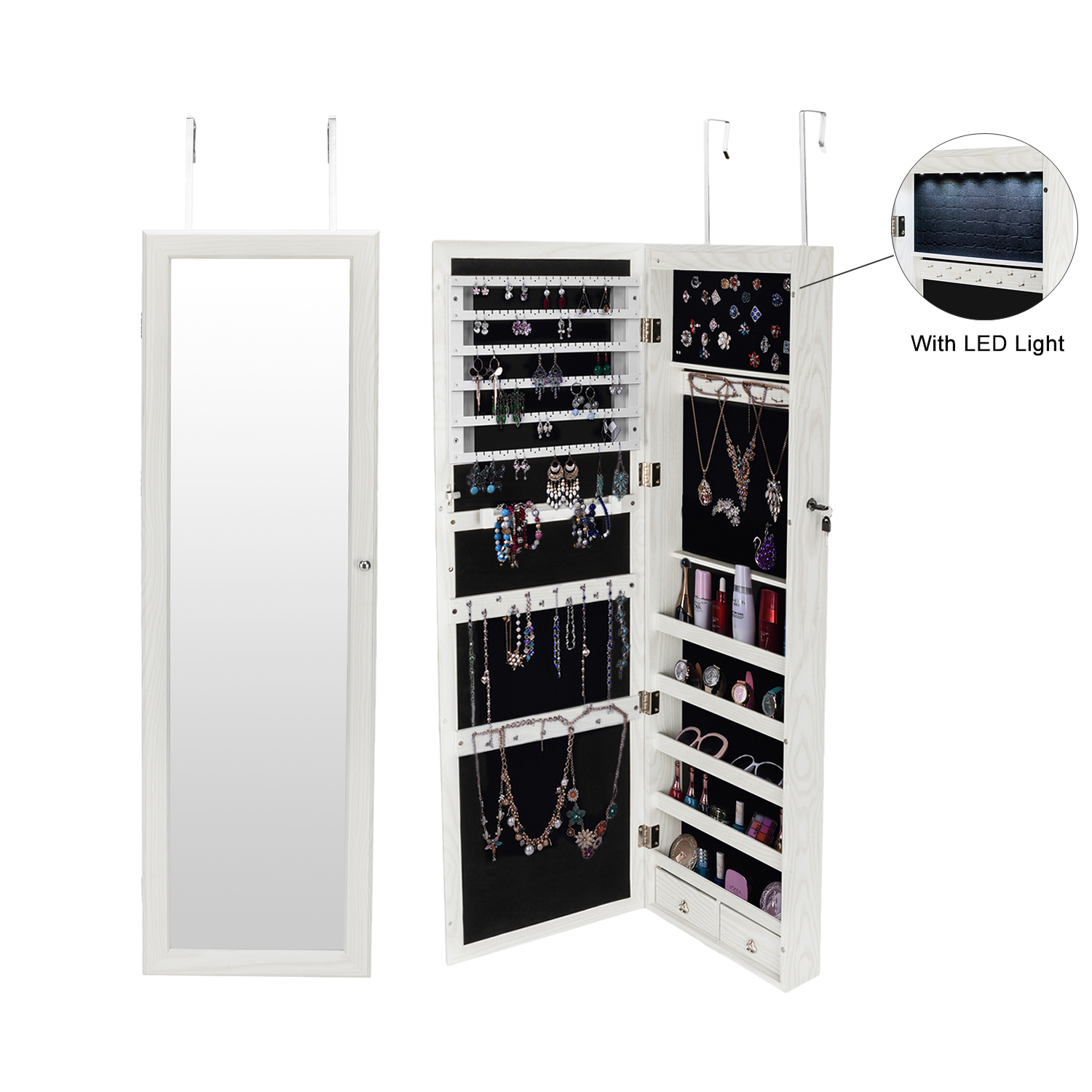Led Wall Mounted Jewelry Mirrored Storage Boxes Dressing